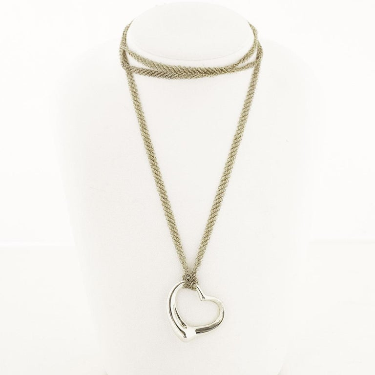 Brand:TIFFANY&Co. Name:Open Heart Mesh Chain Necklace Pendant Material: 925 Sterling Silver Weight:23.3g(Approx) Top size:28.0×35.1mm / 1.10