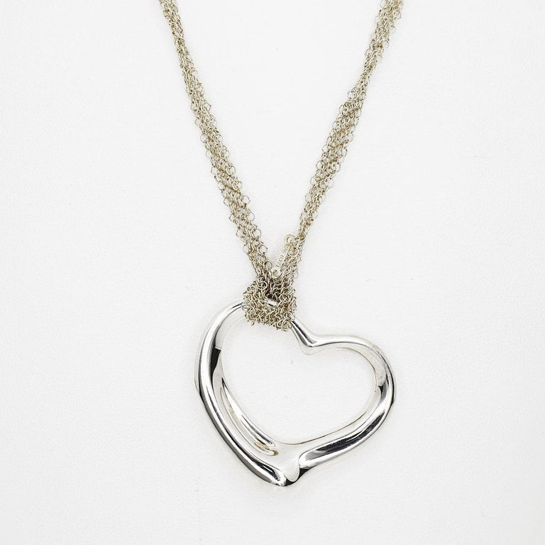 Tiffany & Co. Sterling 925 Silver Open Heart Mesh Chain Pendant Necklace In Good Condition For Sale In Tokyo, JP