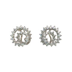 Tiffany & Co. 3.92 Carat Diamond Platinum Swirl Earrings
