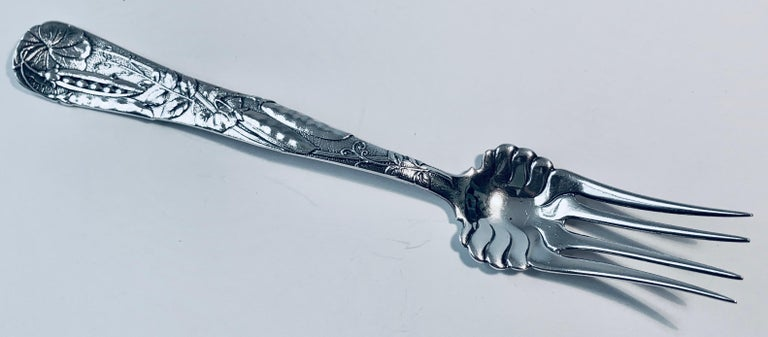 Tiffany's Sterling Silver Cold Meat Fork with Pea Pod Motif