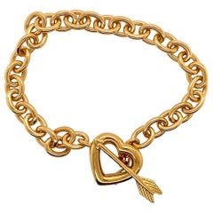 Tiffany's Vintage 1994 18 Karat Yellow Gold Heart and Arrow Bracelet