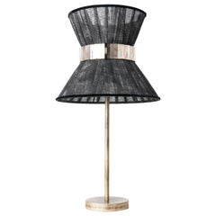 """Tiffany"" Table Lamp 30 Black Chalky Paint, Antiqued Brass, Silvered Glass"