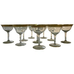 Tiffin Glass Co. Rambling Rose Gold Rim Coupes, Set of 10