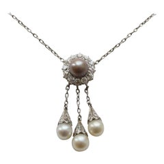 Tiffnay & Co. Edwardian Platinum Pearl and Diamond Necklace