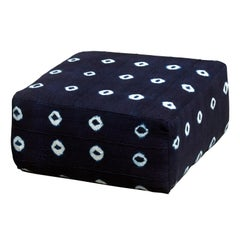 Tifla Floor Cushion Upholstered in Vintage Indigo