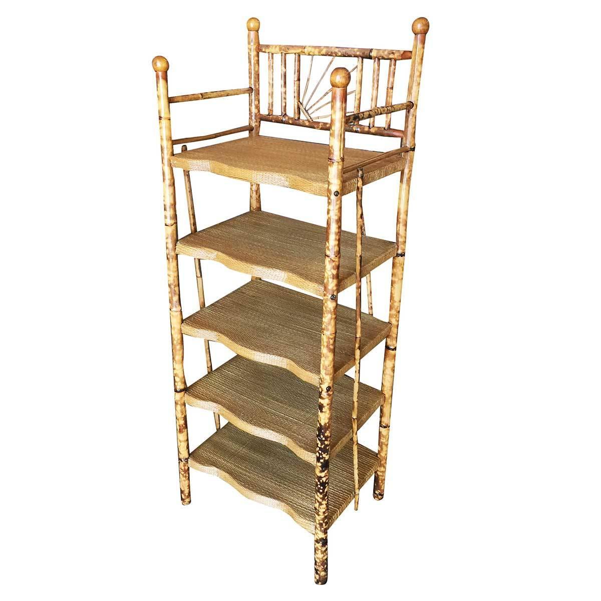 Restored Aesthetic Movement Tiger Bamboo Five-Tier Book/Magazine Shelf Etagere