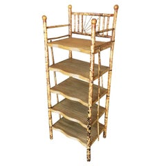 Restored Aesthetic Movement Tiger Bamboo Five-Tier Book/Magazine Shelf