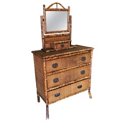 Tiger Bamboo Highboy Dresser with Vanity