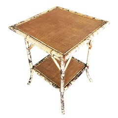 Tiger Bamboo Pedestal Side Table with Leg Braces