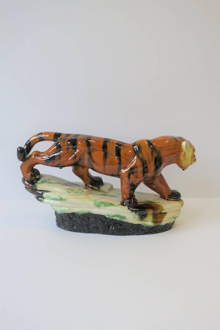 Art Deco Tiger Cat Animal Sculpture For Sale 4
