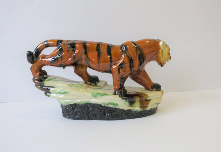 Art Deco Tiger Cat Animal Sculpture For Sale 5