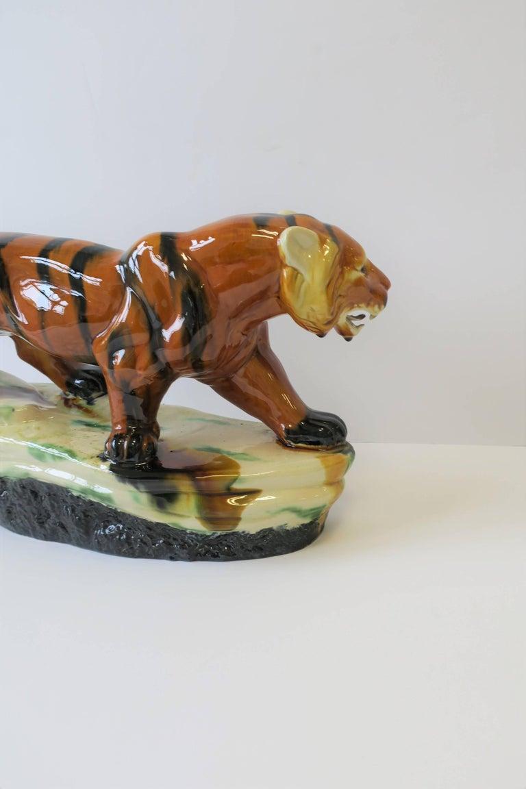 Art Deco Tiger Cat Animal Sculpture For Sale 9