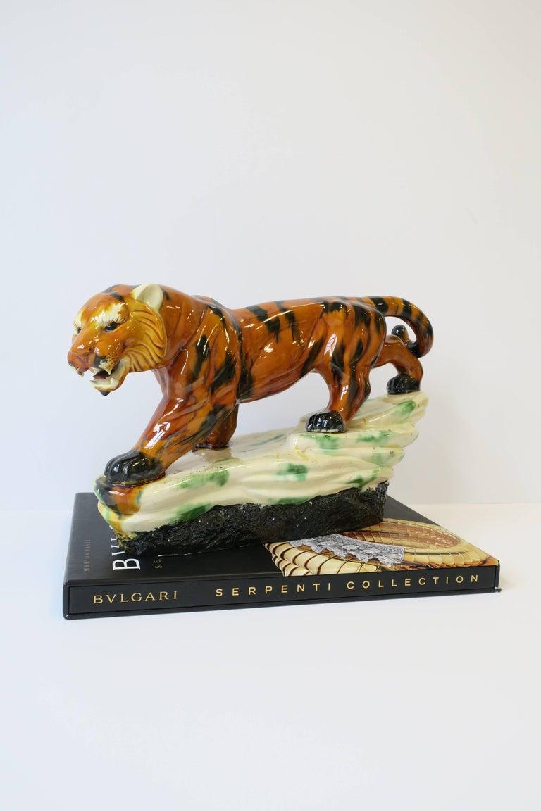 Glazed Art Deco Tiger Cat Animal Sculpture For Sale