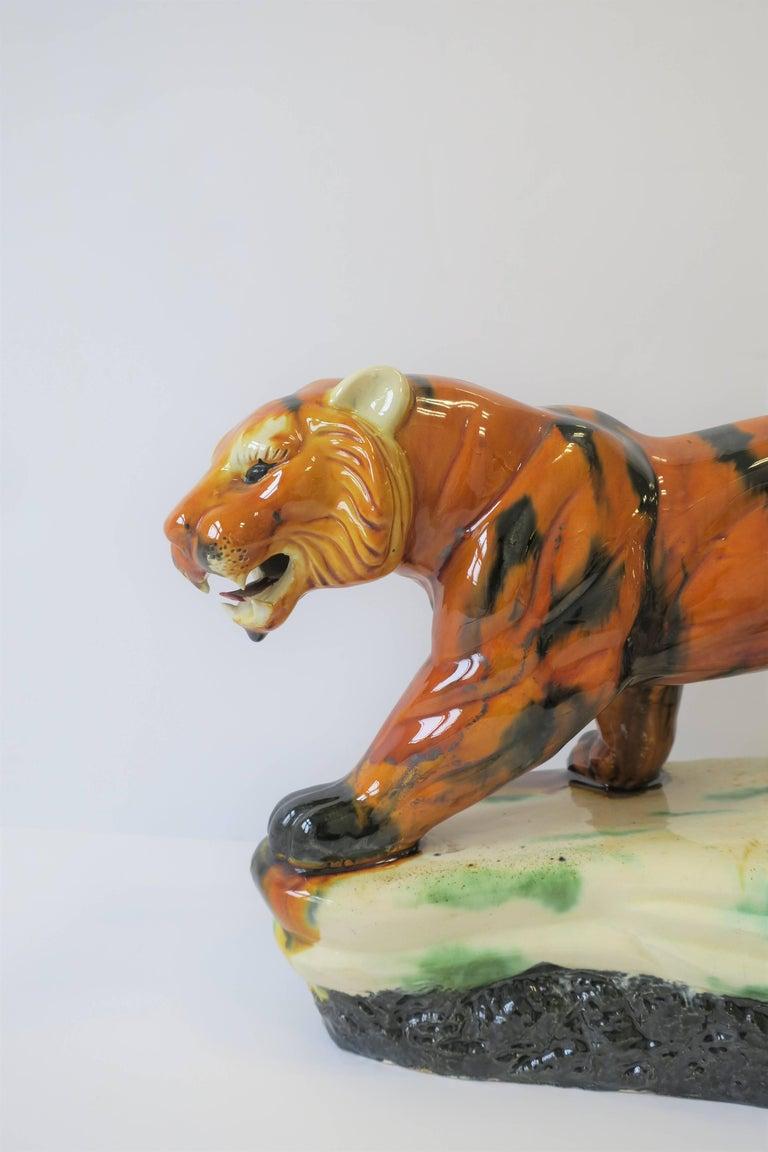 20th Century Art Deco Tiger Cat Animal Sculpture For Sale