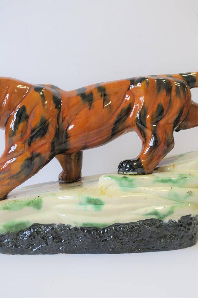 Ceramic Art Deco Tiger Cat Animal Sculpture For Sale