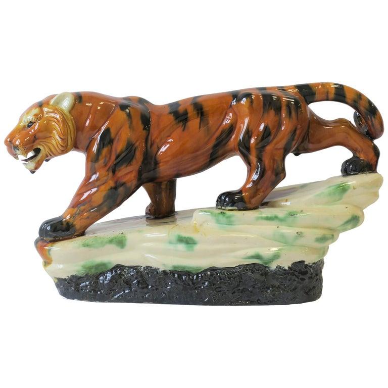Art Deco Tiger Cat Animal Sculpture For Sale
