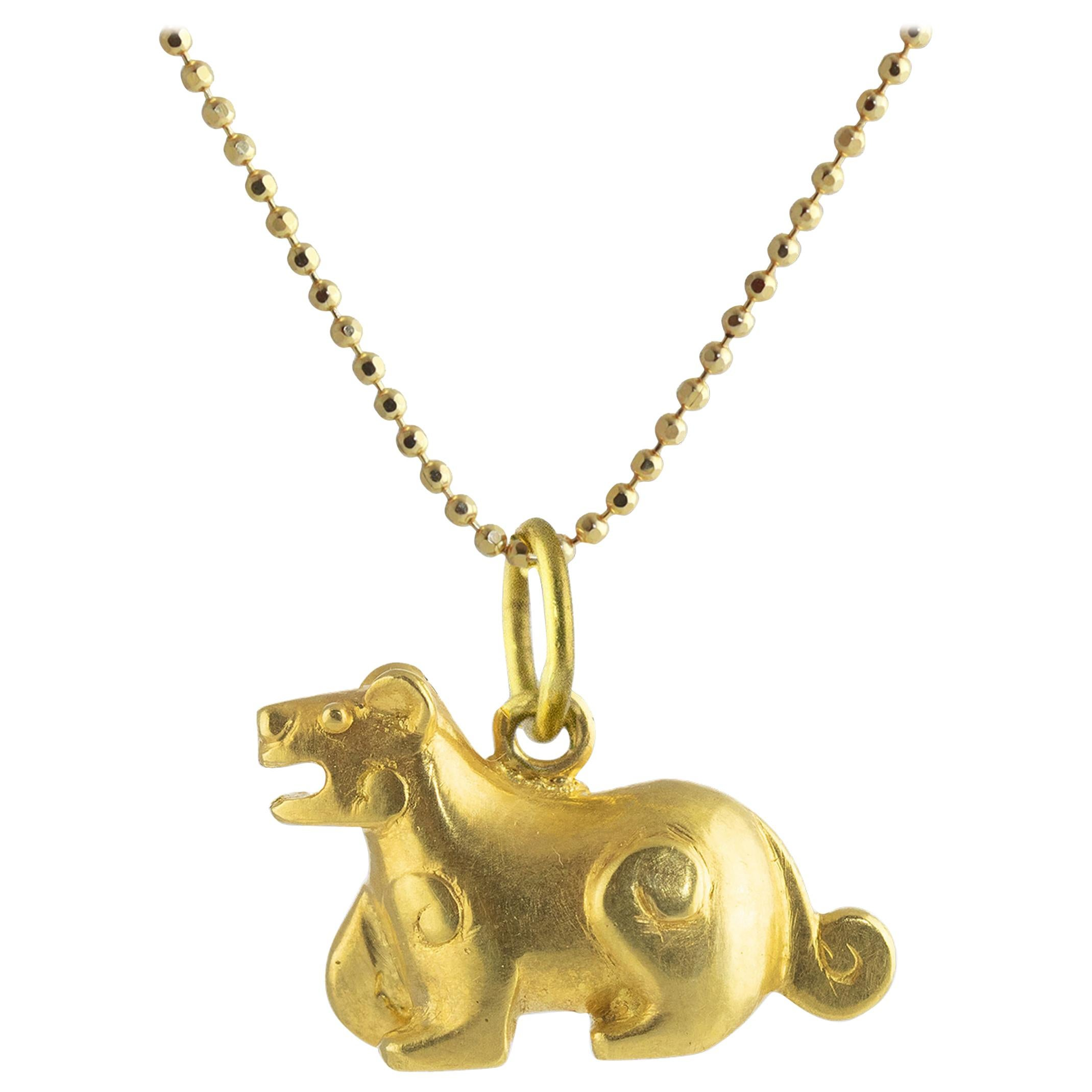 Ico & the Bird & Turquoise Mountain Myanmar Tiger Zodiac 18k Gold Pendant