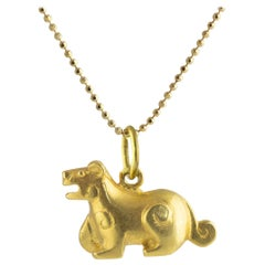 Ico & the Bird & Turquoise Mountain Myanmar 18k Gold  Tiger Zodiac Pendant