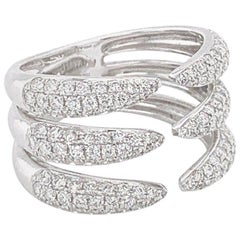 Tiger Claw Diamond Ring in 18 Karat White Gold