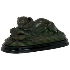 Tiger Devouring a Gavial Bronze Sculpture after Antoine-Louis Barye 19th Century