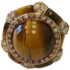 Tiger Eye and Diamond Cocktail Ring in 18 Karat Yellow Gold