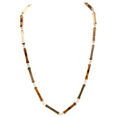 Tiger Eye and Gold Bar Necklace