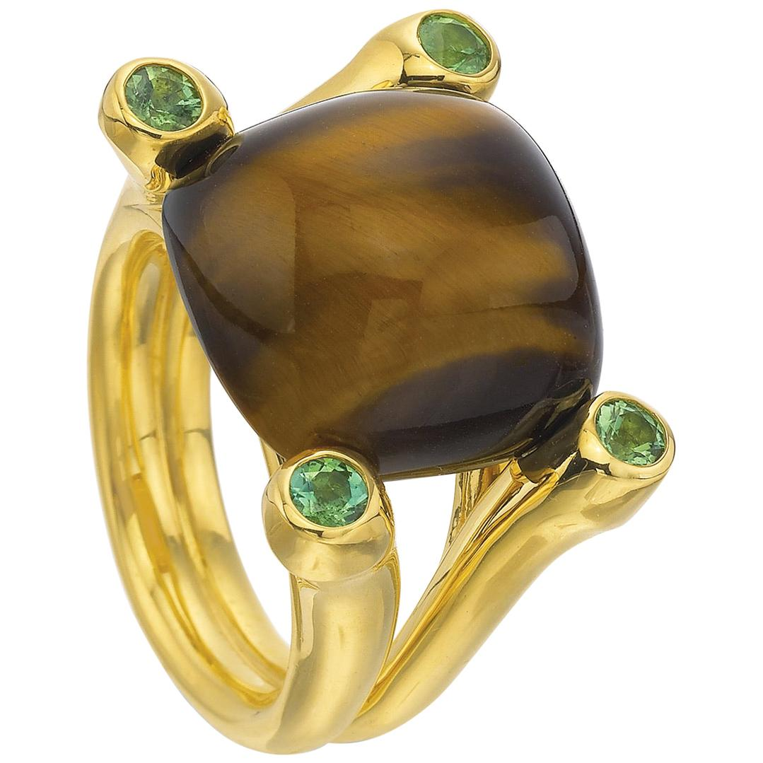 Tiger-Eye Chalcedony with Green Tourmalines