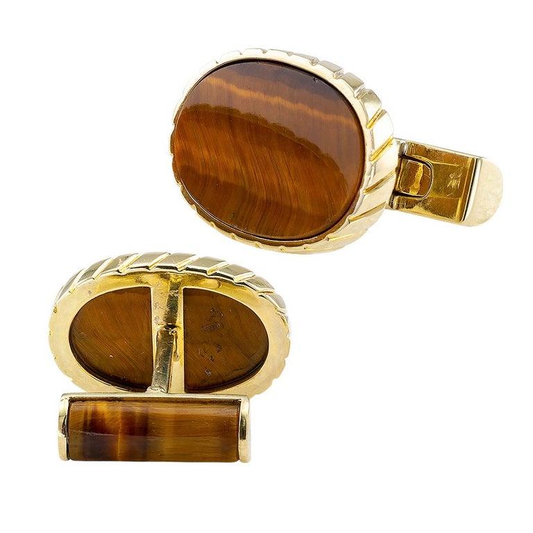 Oval Cut Tiger Eye Yellow Gold Cufflinks For Sale
