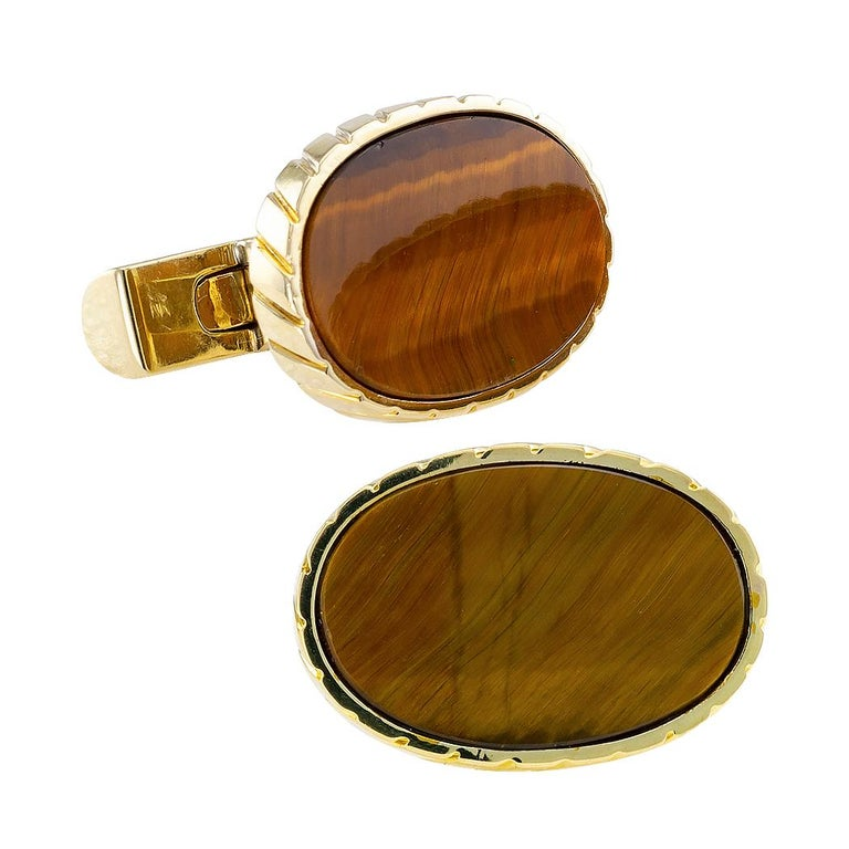 Tiger Eye Yellow Gold Cufflinks For Sale