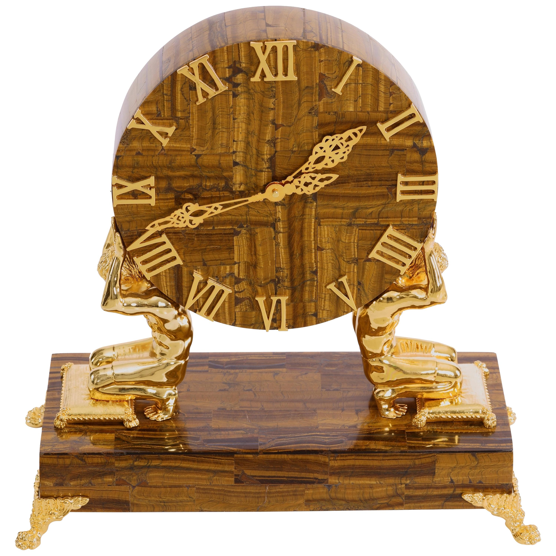 Tiger Eye Mantle Clock