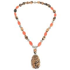 Tiger Eye Pendant Gemstone Sterling Necklace-Sterling, Carnelian,Tiger Eye Beads