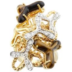 Tiger Eye Quartz and Diamond Freeform Design 18 Karat Two-Tone Gold Cluster Ring