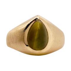Tiger Eye Ring, Man's or Woman's Ring w Genuine Honey Tiger Eye