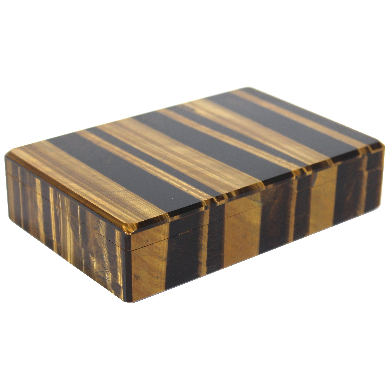 Tiger Eye Semi-Precious Stone Hinged Box