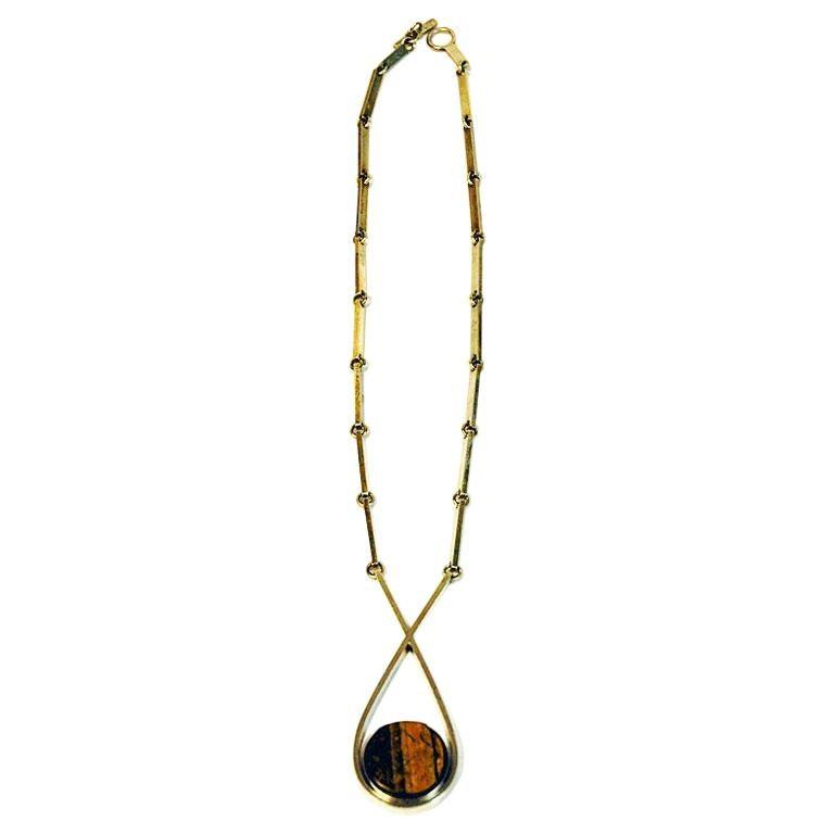 Tiger Eye Silver Necklace by Sven Haugaard 1960s, Denmark