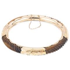 Tiger Eye Yellow Gold Midcentury Bangle Bracelet
