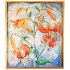 """Tiger Lilies,"" Brilliant Still Life in Oranges and Blues by Wachtel"