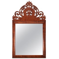 Tiger Maple Carved Baroque Style Mirror
