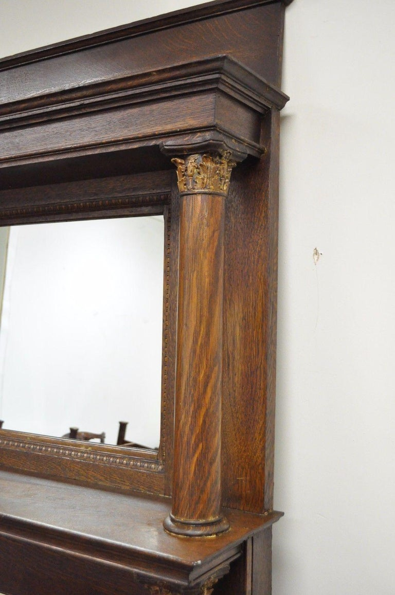 Tiger Oak Fireplace Mantel Surround Mirror Architectural