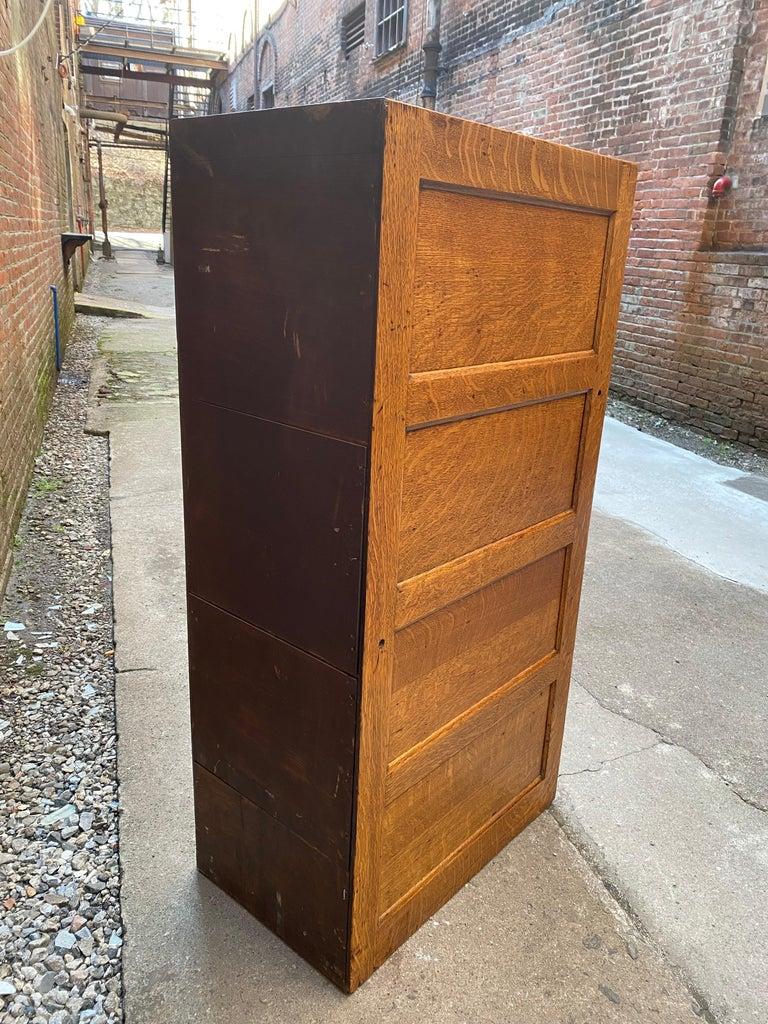 Tiger Oak Four Drawer File Cabinet For Sale 6