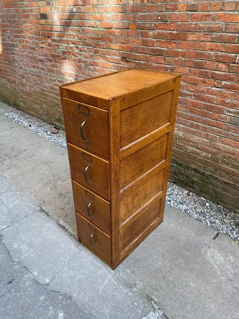 Tiger Oak Four Drawer File Cabinet For Sale 1