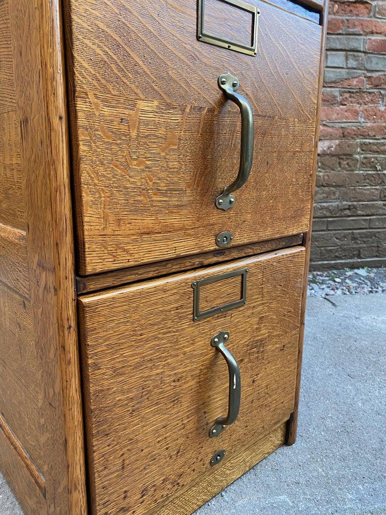 Tiger Oak Four Drawer File Cabinet For Sale 3