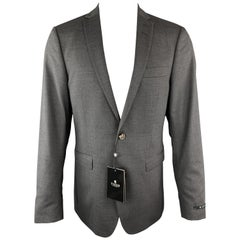 TIGER of SWEDEN 40 Regular Dark Gray Wool Blend Notch Lapel Sport Coat