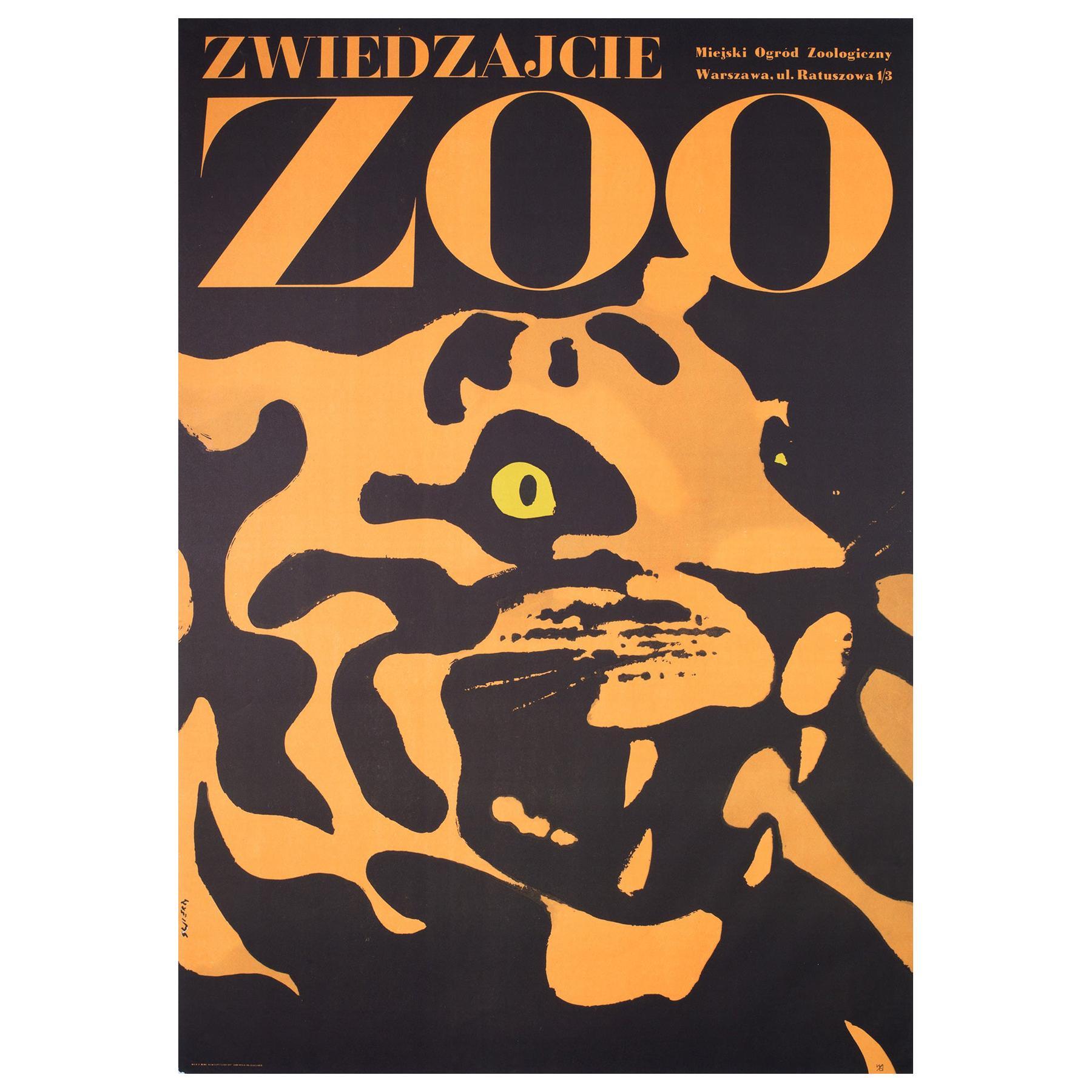Tiger, Polish, Zoo, Poster, 1967, Vintage, Waldemar Swierzy, Black and Orange