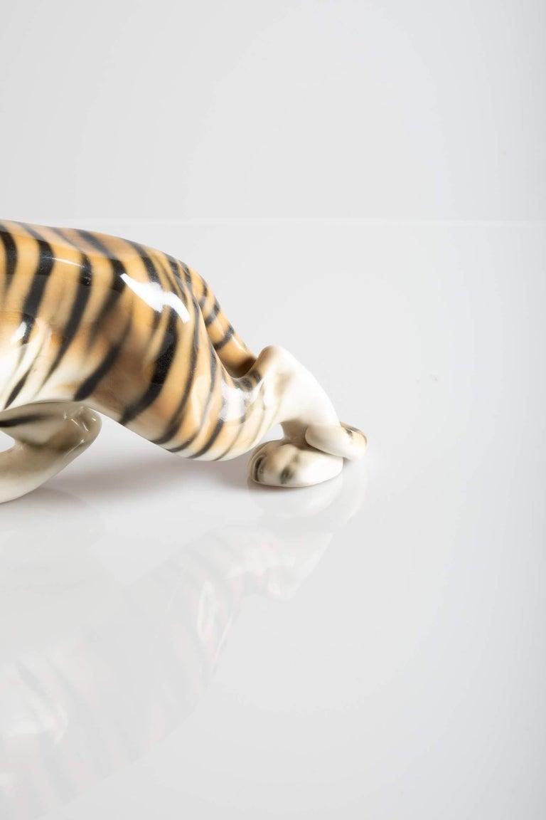 Ceramic Tiger Porcelain Sculpture, Italy, circa 1950 For Sale