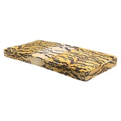 Tiger Print Bench or Settee Box Cushion in the Style of Scalamandre Belgium