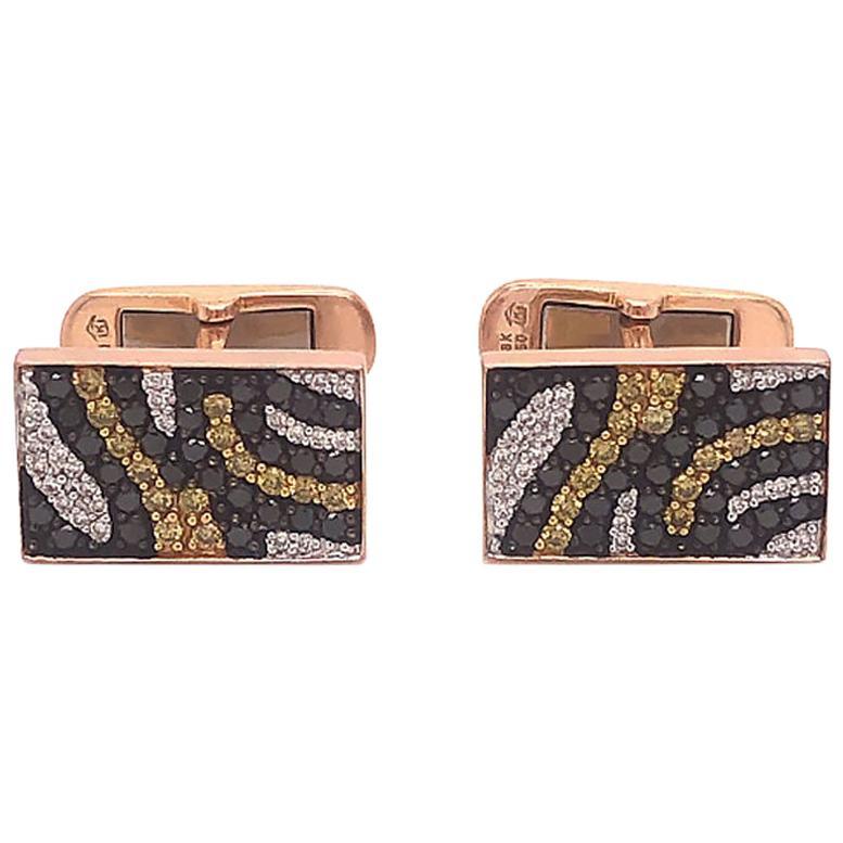 Tiger Print Diamond Cufflinks in 18 Karat Rose Gold
