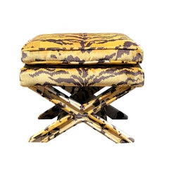 Tiger Print X Bench Stool in the Style of Scalamandre tiger and Billy Baldwin