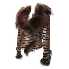 Tiger Printed Fur Jacket with Fox Fur Collar