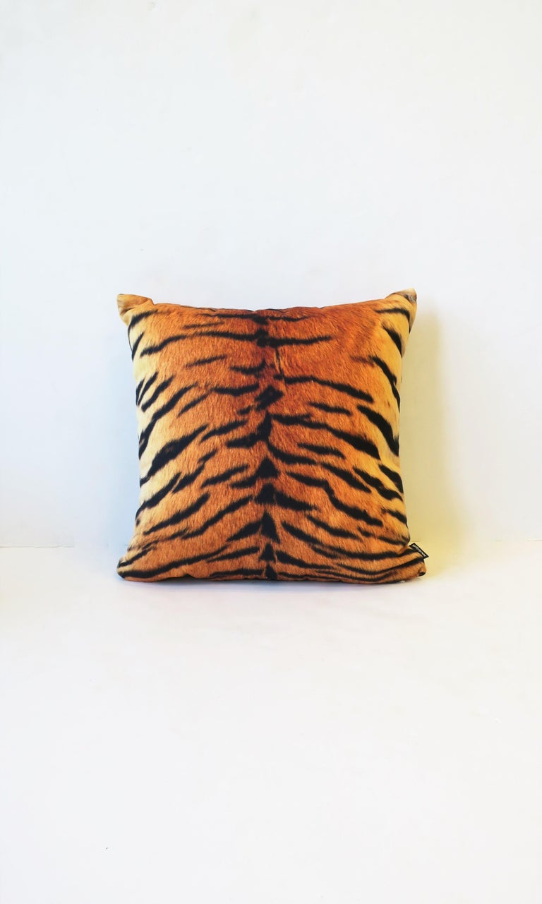A new cotton tiger print throw pillow. With zipper and insert. In original wrapping. Made in the USA.   Measures: 14